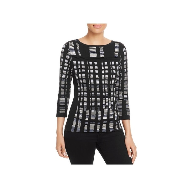 Nic + Zoe Womens Crystal Cove Pullover Top Pattern Three-Quarter Sleeves - XL