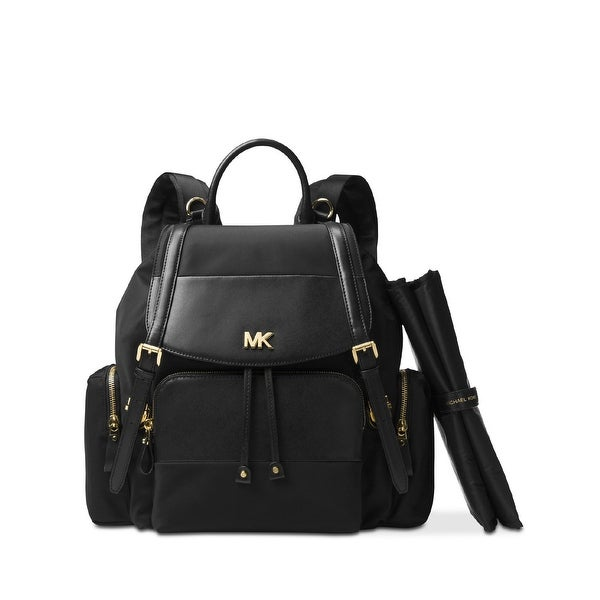 7220b58a12f7b2 MICHAEL Michael Kors Beacon Large Flap Nylon Diaperbag Backpack Black/Gold  - One size