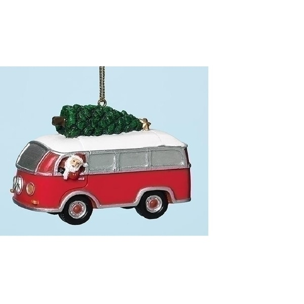"2.5"" Red and White Santa and Classic Van with Tree Christmas Ornament"