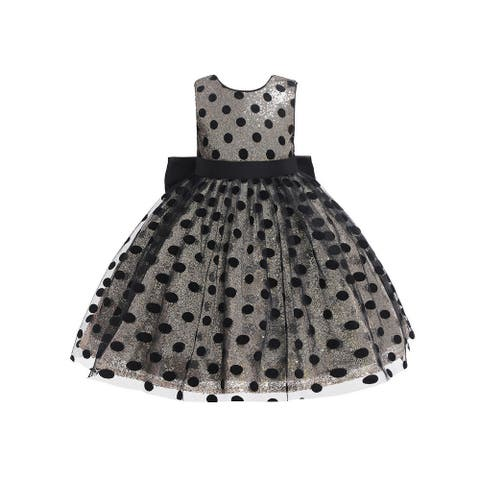 Rain Kids Baby Girl Gold Sequin Black Polka Dot Tulle Christmas Dress