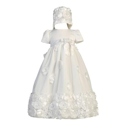 Baby Girls White Floral Ribbon Tulle Dress Bonnet Baptism Set 0-18M