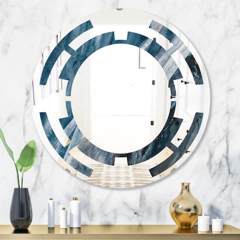 Designart 'Splash Blue Indigo' Modern Round or Oval Wall Mirror - Space