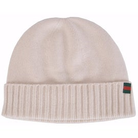 New Gucci Men's 284587 Maglia 100-percent Cashmere Web Stripe Knit Beanie Hat S