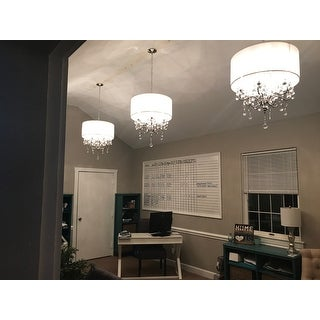 Silver Mist Hanging Crystal Drum Shade Chandelier by iNSPIRE Q Classic