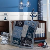 Lambs & Ivy Metropolis Blue Car/Truck/Plane Transportation Theme 4-Piece Nursery Crib Bedding Set