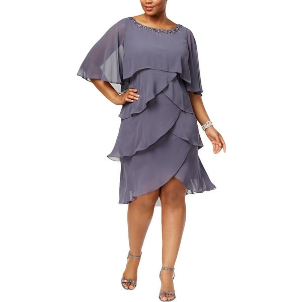 SLNY Womens Plus Party Dress Chiffon Knee-Length