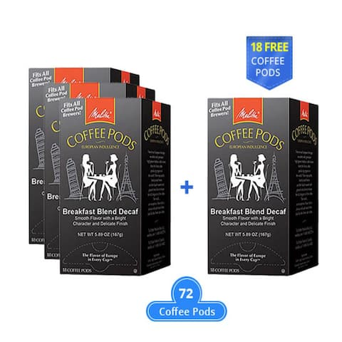 Melitta 75413 Breakfast Blend Decaf 18 Counts (3-Pack) Breakfast Blend Decaf Coffee Pods
