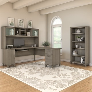 Link to Copper Grove Shumen Ash Grey 72-inch L-shaped Desk with Bookcase Similar Items in Desks & Computer Tables