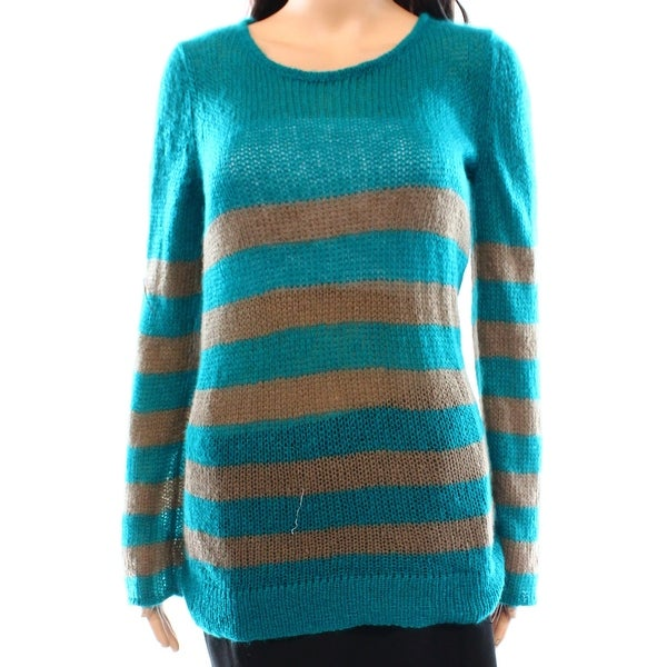 Wooden Ships New Blue Womens Size Large L Boat Neck Striped Knit Sweater