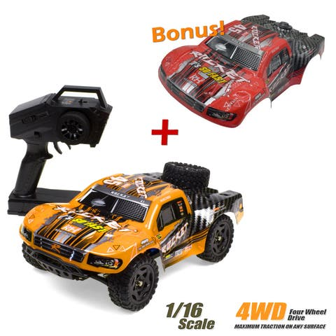 REMO 1/16 Scale RC Truck 4WD High Speed Off-Road Short Course Remote Control Car - Orange/Red