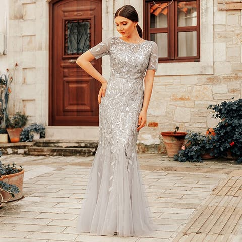 8190be95 Ever-Pretty Womens Tulle Sequin Fishtail Elegant Long Formal Evening Party  Prom Dress 07707