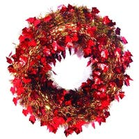"20"" Festive Thanksgiving Fall Harvest Red and Gold Leaf Artificial Tinsel Wreath - Unlit"