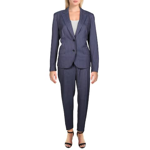 Anne Klein Womens Two-Button Suit Pinstripe 2PC - Marine Blue/Medium Red Combo - 10