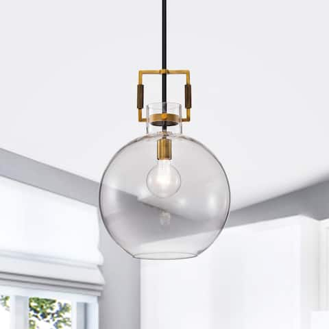 Oil Rubbed Bronze and Antique Gold 1-Light Clear Globe Glass Pendant