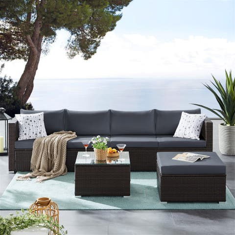 6 Pieces Outdoor Patio Furniture Sets, Wicker Rattan Sectional Sofa Sets with Coffee Table