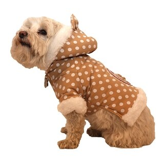 Polka-Dot Couture-Bow Pet Hoodie Sweater, Brown Polka, Small