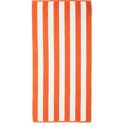 Orange & White 30x60 Rugby Stripes Beach Towel