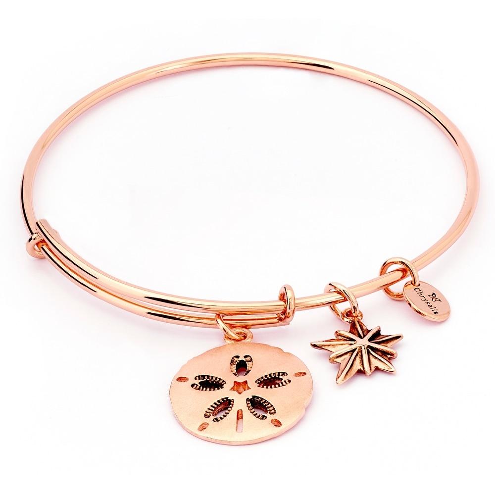 Sand Dollar Adjustable Charm Bangle Bracelet, Rose Gold Plated
