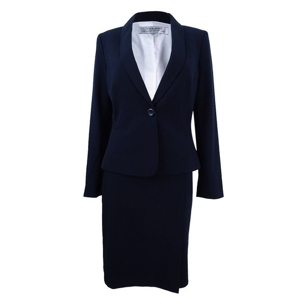 Tahari ASL Women's One-Button Skirt Suit - Navy