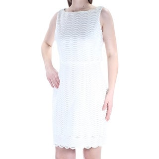 AMERICAN LIVING Womens Ivory Lace Sleeveless Jewel Neck Above The Knee Sheath Wear To Work Dress Size: 8