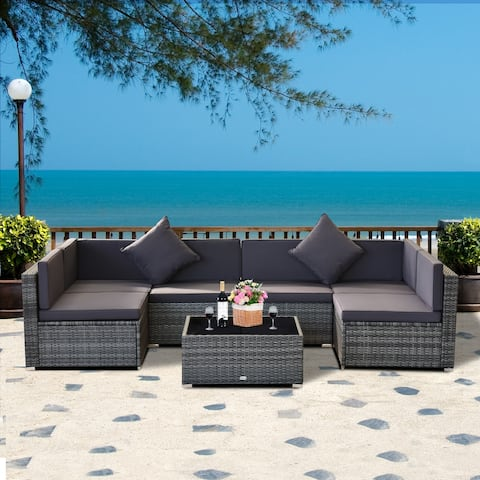 Siara 7-piece Rattan Wicker Sectional Patio Set by Havenside Home