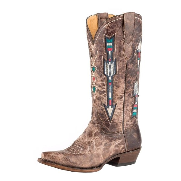 Roper Western Boots Womens Arrows Leather Brown