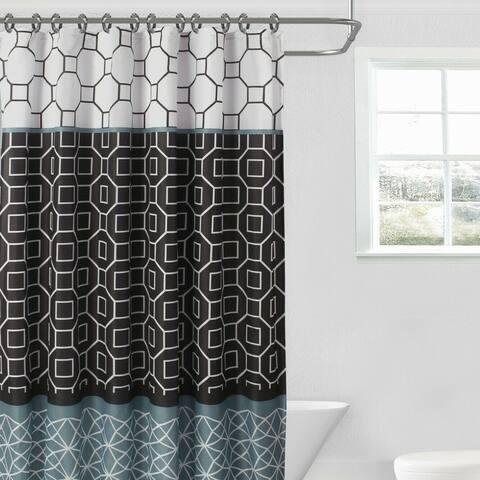"15Pcs Bathroom Set Shower Curtain Diamond 70"" X 72"" Black/Grey"