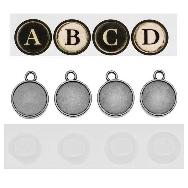 Tim Holtz Idea-ology Type Charm Pendants With Letter & Epoxy Stickers (1 Set)
