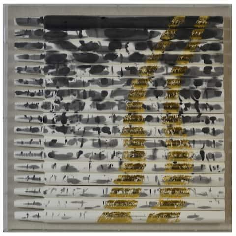 Harp & Finial Metallique Multicolor Rolls Of Fabric Shadow Box Framed Art