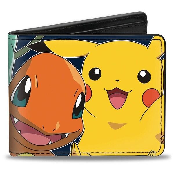 Pikachu & Kanto Starter Pokmon Stacked Close Up Bi Fold Wallet - One Size Fits most