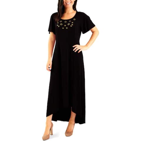 NY Collection Womens Petites Casual Dress Grommet Hi-Low