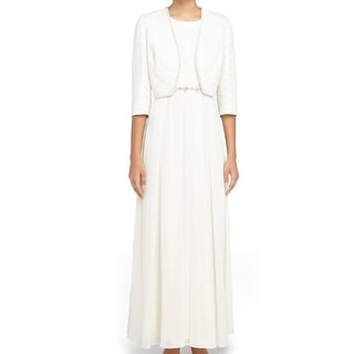 Tahari by ASL NEW White Women's Size 10 Empire Waist Maxi Dress Set