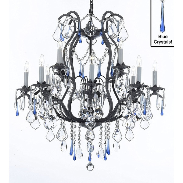 Wrought Iron Crystal Chandelier Lighting Dressed With Blue Crystals