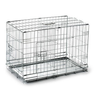 Portable Folding Metal Wire Dog Crate Cage Pet Kennel Pen - Silver - 20 in. long w/ divider
