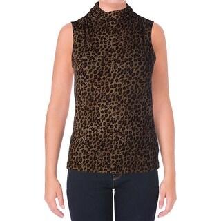 Lauren Ralph Lauren Womens Animal Print Sleeveless Pullover Top - XL
