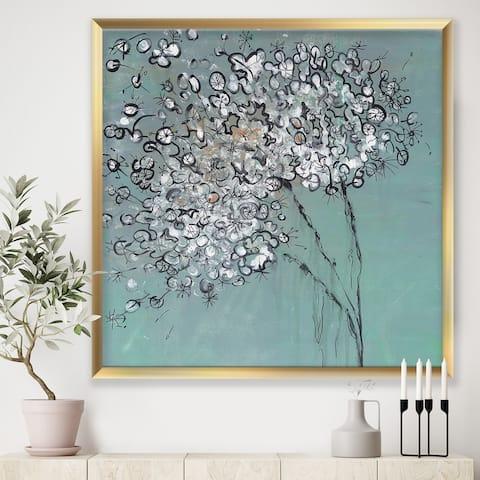 Designart 'Teal Blossoming Dandelion' Modern & Contemporary Framed Art Print