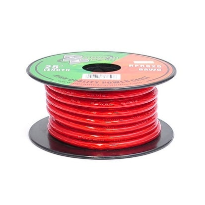8 Gauge Clear Red Power Wire 25 ft. OFC
