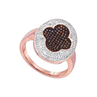 10kt Rose Gold Womens Round Red Colored Diamond Cluster Fashion Ring 1/2 Cttw - White