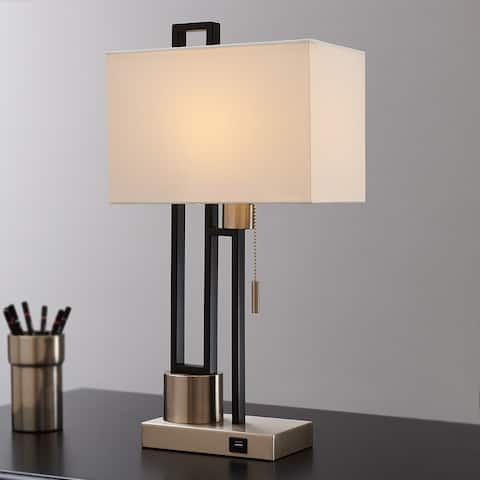 """21"""" Matte Black/Brushed Nickel Table Lamp with USB Port and White Linen Shade 9.5W LED Bulb Included - 21"""" H"""