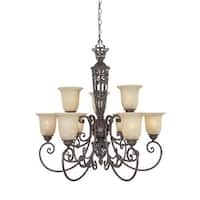 Designers Fountain 97589 Nine Light Up Lighting Two Tier Chandelier from the Amherst Collection