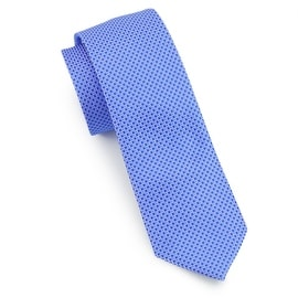 Men's Grey and Blue Striped Tie