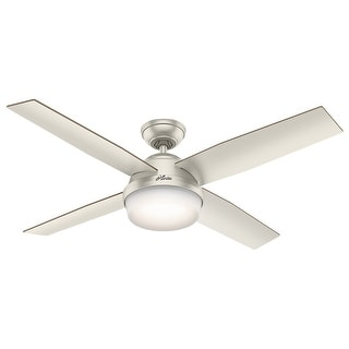 """Hunter 52"""" Dempsey Outdoor Ceiling Fan with LED Light Kit and Handheld Remote, Damp Rated - Matte Nickel"""