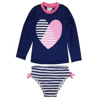 Sweet & Soft Toddler Girls Long Sleeve Heart & Stripes Swim Rashguard Bikini Set