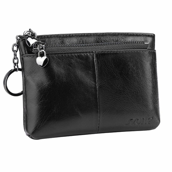 Women/'s Real Leather Purse Ladies Coin Card Holder Zip Around Small Wallet