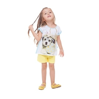 Toddler Girl Short Sleeve T-Shirt Summer Puppy Graphic Tee Pulla Bulla 1-3 Years
