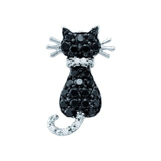 Cat Pendant 10k White Gold With Black and White Diamonds 0.33Ctw By MidwestJewellery