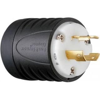 Pass & Seymour Turnlok Plug, 20A, 250V, Black & White