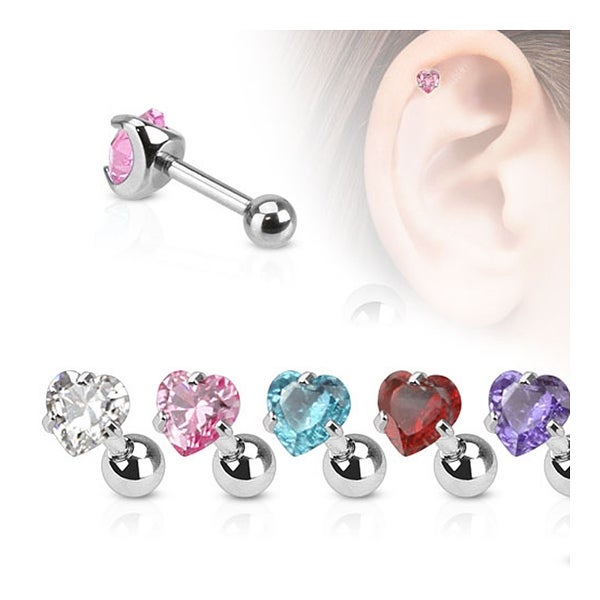 Heart CZ Pronged Tragus/Cartilage Piercing Stud 316L Surgical Steel (Sold Ind.)