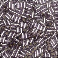 Toho Bugle Tube Beads Size 1 / 2x3mm Silver Lined Tanzanite 8 Grams