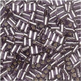 Toho Bugle Tube Beads Size 1 / 2x3mm Silver Lined Tanzanite 8 Grams